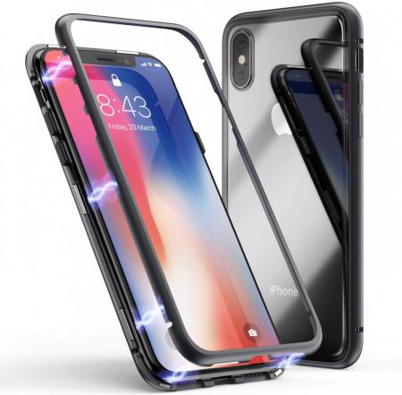 Husa Apple iPhone XS, Magnetica 360 grade Negru , Perfect FIt cu spate de sticla securizata premium + folie de sticla pentru ecran gratis
