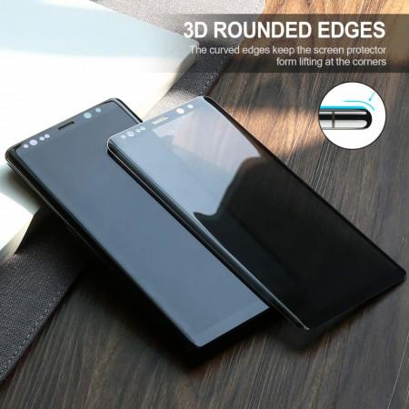 Husa Samsung Galaxy Note 8 Magnetica cu spate din sticla securizata si folie privacy pentru ecran, Perfect Fit