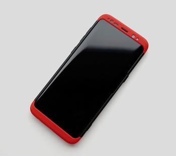 Husa Samsung Galaxy S8, FullBody 360° 3in1 Negru-Rosu