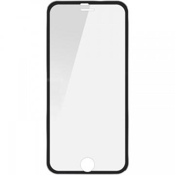 Folie de sticla Apple iPhone 6/6S, Elegance Luxury cu rama metalica Black