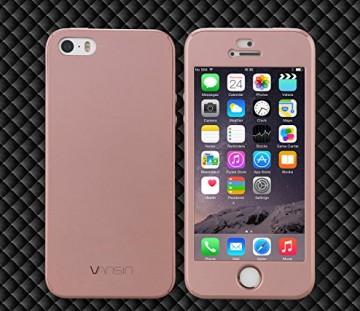 Husa Apple iPhone 5/5S/SE, FullBody Rose-Gold, acoperire completa 360 grade cu folie de sticla gratis