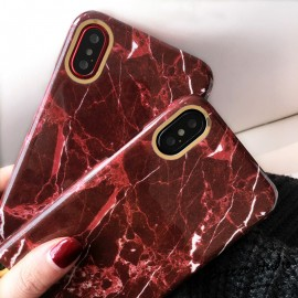 Poze Husa Apple iPhone 6/6S, Elegance Luxury Marble Red TPU, husa cu insertii marmura rosie-aurie