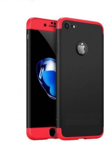 Poze Husa Apple iPhone 7, Elegance Luxury, 360° 3in1 Negru-Rosu