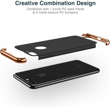 Husa Apple iPhone 8, Elegance Luxury 3in1 Negru