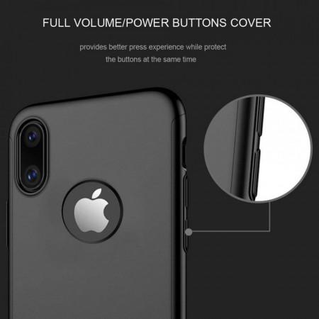 Husa Apple iPhone X, FullBody Elegance Luxury Negru, acoperire completa 360 grade cu folie de sticla gratis