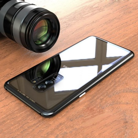Husa Samsung Galaxy NOTE 8 , Magnetica Negru, Perfect Fit cu spate de sticla securizata premium