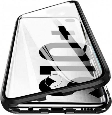 Husa Samsung Galaxy S10 Plus Magnetica 360 grade Black, Perfect Fit cu spate de sticla securizata premium + folie de sticla pentru ecran