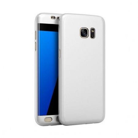Husa Samsung Galaxy S7 Edge, FullBody Elegance Luxury Silver, acoperire completa 360 grade cu folie de protectie gratis