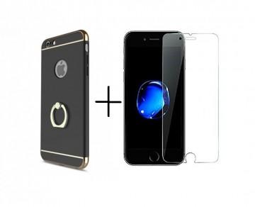 Pachet husa Elegance Luxury 3in1 Ring Black pentru Apple iPhone 7 Plus cu folie de sticla gratis