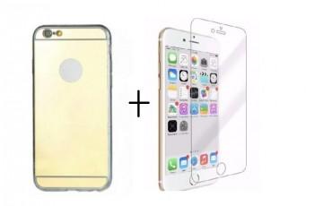 Pachet husa Elegance Luxury Tip Oglinda Gold pentru Apple iPhone 7 cu folie de sticla gratis