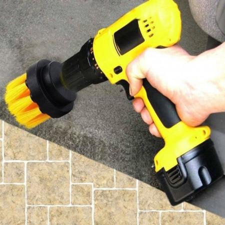Perie rotunda mica pentru Mocheta & Uz Casnic / Profesional - Detailing Carpet Brush cu Adaptor Bormasina