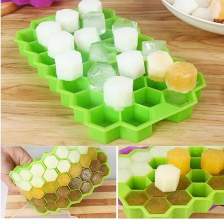 Forma cuburi de gheata Fagure Hexagon din silicon - potrivita si pentru uz profesional, Verde
