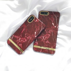 Husa Apple iPhone 6/6S, Elegance Luxury Marble Red TPU, husa cu insertii marmura rosie-aurie