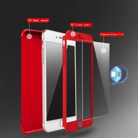 Husa Apple iPhone 7, FullBody Elegance Luxury Red, acoperire completa 360 grade cu folie de sticla gratis