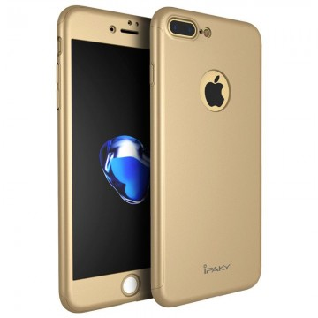 Poze Husa Apple iPhone 7 Plus, FullBody Elegance Luxury iPaky Gold, acoperire completa 360 grade cu folie de sticla gratis