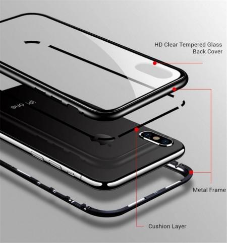 Husa Apple iPhone 7 PLUS Magnetica 360 grade Negru, Perfect Fit cu spate de sticla securizata premium + folie de sticla pentru ecran gratis