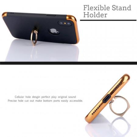 Husa Apple iPhone X, Elegance Luxury 3in1 Ring Negru