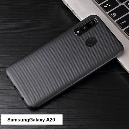 Husa pentru Samsung Galaxy A20, Perfect Fit, cu insertii de carbon, negru
