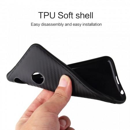Husa pentru Samsung Galaxy A50, Perfect Fit, cu insertii de carbon, negru
