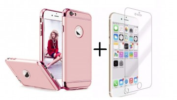 Pachet husa Elegance Luxury 3in1 Rose-Gold pentru Apple iPhone 6 Plus / Apple iPhone 6S Plus cu folie de sticla gratis