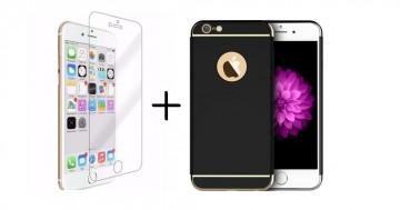 Pachet husa Elegance Luxury 3in1 Ultrasubtire Black pentru Apple iPhone 7 Plus cu folie de sticla gratis