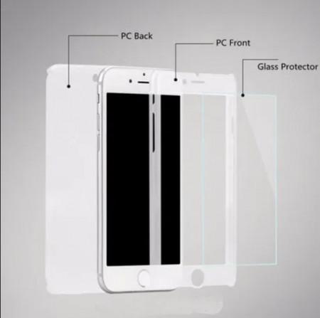 Husa Apple iPhone 6/6S, FullBody Elegance Luxury Silver, acoperire completa 360 grade cu folie de sticla gratis
