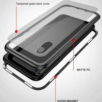 Husa Apple iPhone 6 PLUS Magnetica 360 grade SILVER , Elegance Luxury cu spate de sticla securizata premium