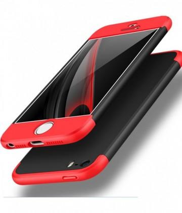 Husa Apple iPhone 8, FullBody 360° 3in1 Negru-Rosu