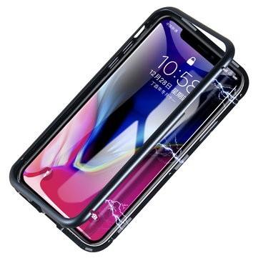 Husa Apple iPhone XS MAX Magnetica Negru, Perfect Fit cu spate de sticla securizata premium