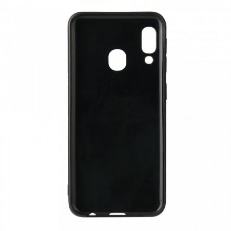 Husa pentru Samsung Galaxy A30, Perfect Fit, cu insertii de carbon, negru