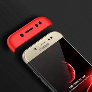 Husa Samsung Galaxy J7 2017, FullBody 360° 3in1 Negru-Rosu