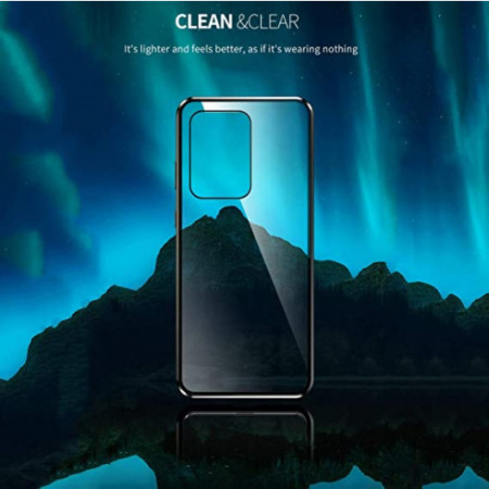 Husa Samsung Galaxy S20 Plus , Magnetica 360 Negru, Perfect Fit cu spate de sticla securizata premium + folie de sticla pentru ecran