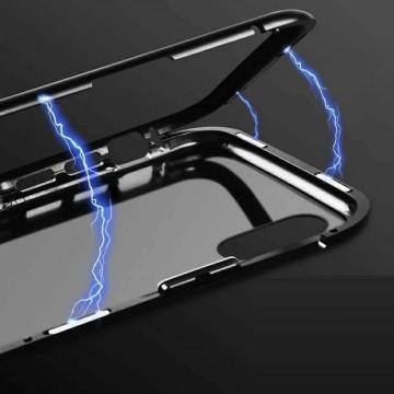 Husa Samsung Galaxy S9 PLUS , Magnetica Negru, Perfect Fit cu spate de sticla securizata premium