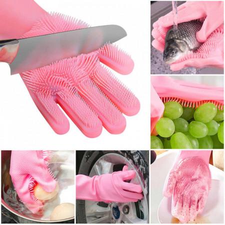 Manusi profesionale din silicon cu perii pentru spalat vasele si pentru protejarea mainilor, reutilizabile, MyStyle® Kitchen