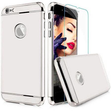 Pachet husa Elegance Luxury 3in1 Ring Silver pentru Apple iPhone 7 Plus cu folie de sticla gratis