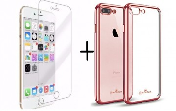 Pachet husa Elegance Luxury placata Rose-Gold pentru Apple iPhone 7 Plus cu folie de protectie gratis
