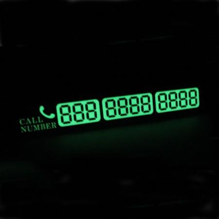 Placa numar telefon fosforescent parcare temporara pentru parbriz, culoare argintiu