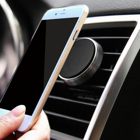Suport auto magnetic de culoare neagra pentru telefoane mobile, prindere la ventilatie