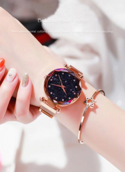 Ceas de dama Magnet Starry Sky Quartz Wristwatch Gold