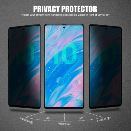 Folie de sticla Samsung Galaxy Note 10, Privacy Glass, folie securizata duritate 9H
