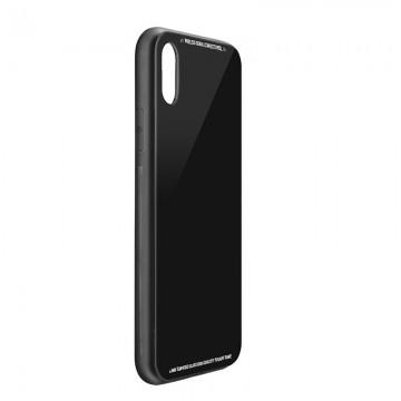 Husa Apple iPhone 7 Plus,Elegance Luxury Back Glass, husa cu sticla securizata pe spate de culoare neagra