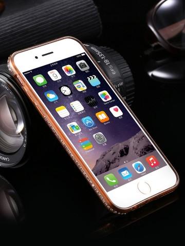Husa Apple iPhone 7 Plus, Elegance Luxury electroplacata cu diamante Auriu