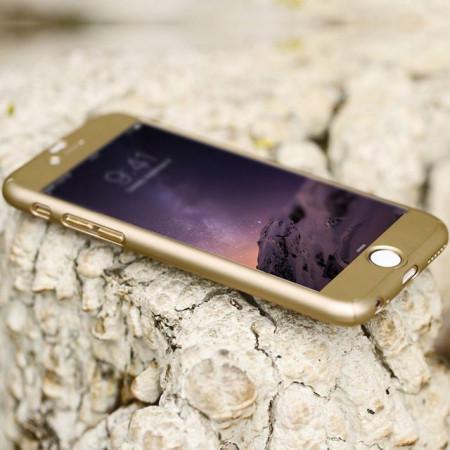 Husa Apple iPhone SE2, FullBody Elegance Luxury Gold, acoperire completa 360 grade cu folie de sticla gratis