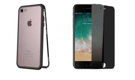 Husa Apple iPhone SE2 Magnetica cu spate din sticla securizata si folie privacy pentru ecran, Perfect Fit