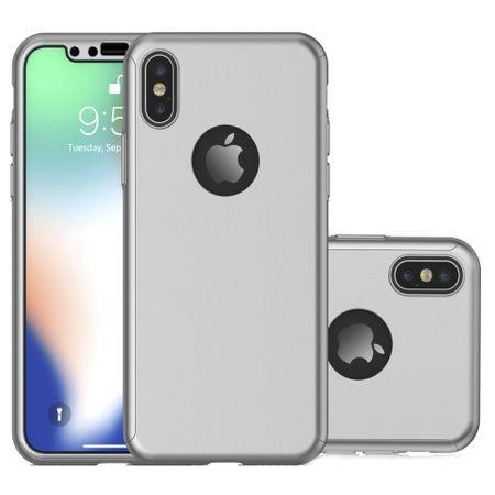 Husa Apple iPhone X, FullBody Elegance Luxury Argintiu, acoperire completa 360 grade cu folie de sticla gratis