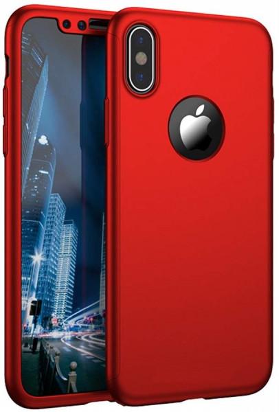 Husa Apple iPhone X, FullBody Elegance Luxury Rosu, acoperire completa 360 grade cu folie de sticla gratis