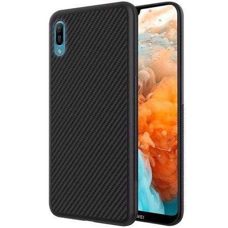 Husa pentru Huawei Y6 2019, Perfect Fit, cu insertii de carbon, negru