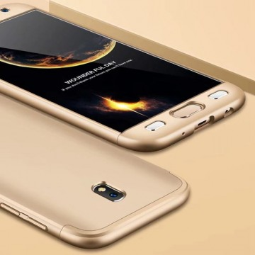 Husa Samsung Galaxy J7 2017, FullBody Elegance Luxury Gold, acoperire completa 360 grade cu folie de sticla gratis