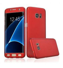 Husa Samsung Galaxy S6 Edge, FullBody Elegance Luxury Red, acoperire completa 360 grade cu folie de protectie gratis