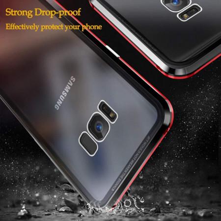 Husa Samsung Galaxy S8 Plus , Magnetica Negru, Perfect Fit cu spate de sticla securizata premium + folie de sticla pentru ecran